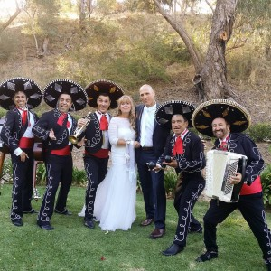 Bride and Groom with The Mariachis. Glen Ewin Estate