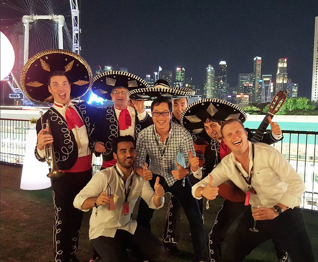 Singapore Formula One Grand Prix Mexican Mariachi Band Singapore Pit straight