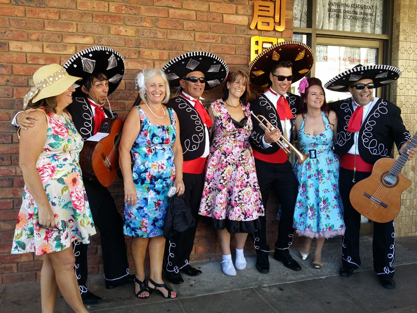 Elvis Parkes Festival with The Three Amigos Roving Mexican Mariachi Band Adelaide Australia