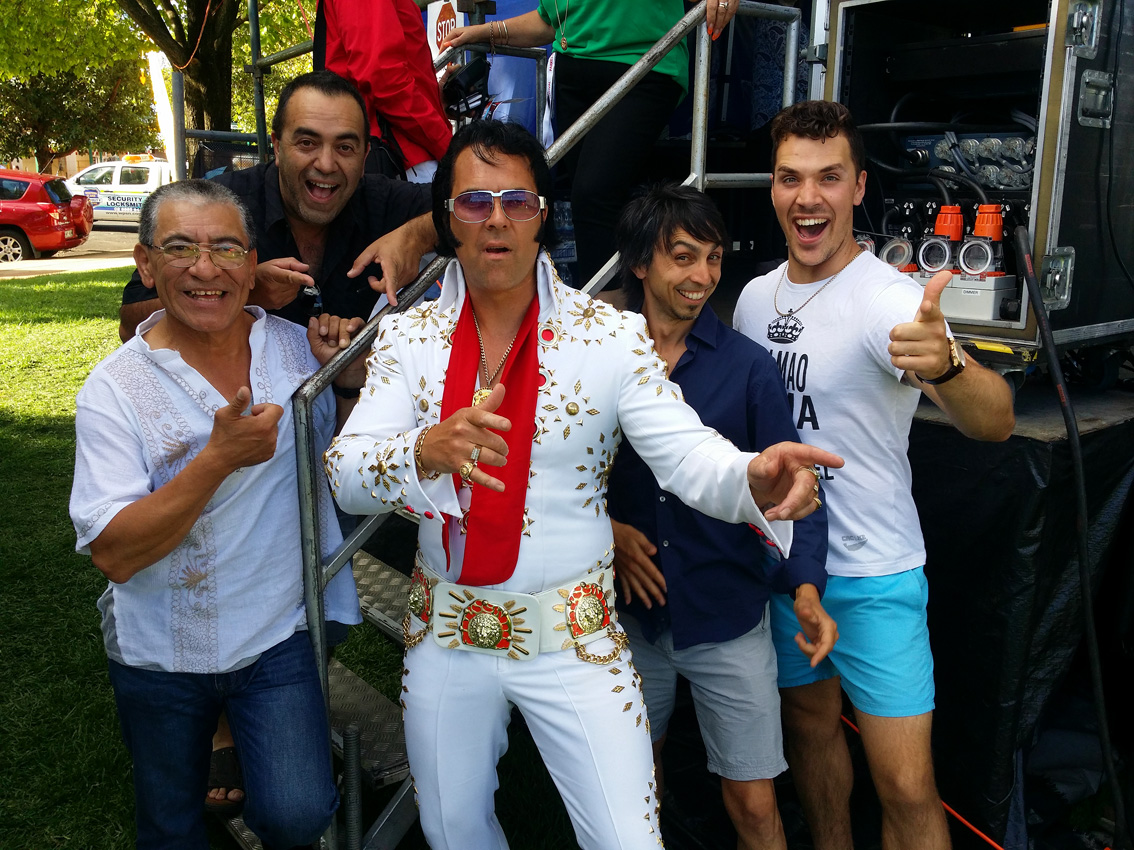 Elvis in the Parkes Festival featuriing Elvis Impersonator with Mariahci Mexican Band Adelaide Australia