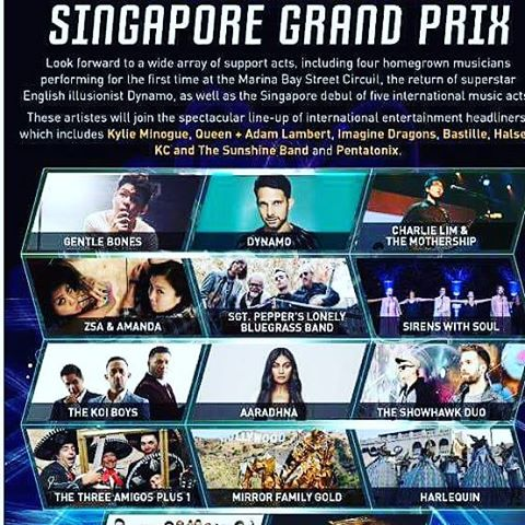 Dynamo Magician Illusionist Singpapore Formula One Grand Prix. Kylie Minogue Adam Lambert